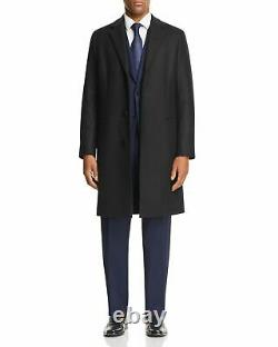 $1450 Theory Men'S Manroe Blue Traceable Melton Wool Peacoat Overcoat Topcoat L