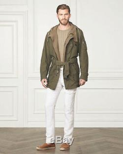 $2,995 Ralph Lauren Purple Label Gifford Olive Wool Lined Twill Parka Coat NWT