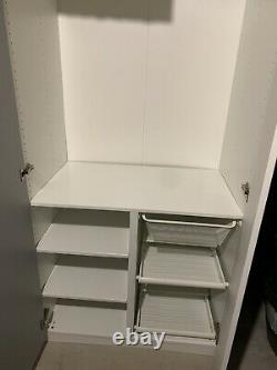2 x Large Double Ikea PAX Wardrobe White Gloss & Mirror Doors Custom RRP £620