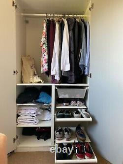 2 x Large Double Ikea PAX Wardrobe White Gloss & Mirror Doors Custom RRP £650