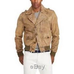 $3,995 Ralph Lauren Purple Label Italy Mens Peaston Leather Skeet Bomber Jacket