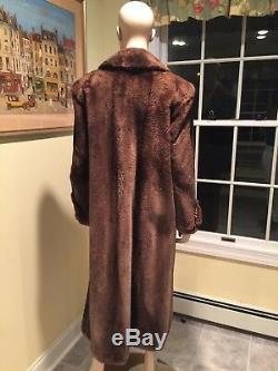 50 Long Full Length Sheared Beaver Real Fur Coat Size 10 Large Phantom Striped