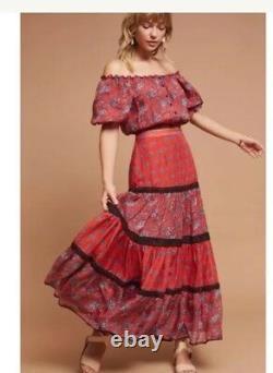 58. NWT Anthropologie Carolina K red Silk Tiered Ruffle Black Lace Maxi Skirt L