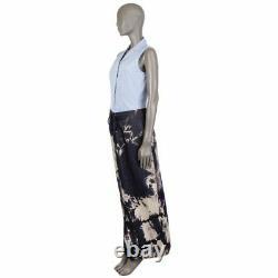 58180 auth CELINE blue & beige cotton & silk TIE-DYE Maxi Skirt 42 L