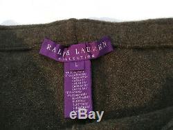 $998 RALPH LAUREN Purple Label Military Green Cashmere Leggings Pants sz L