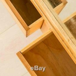 Abbey Light Oak Large Triple Wardrobe with Drawers & Mirror Solid Wood Bedroom