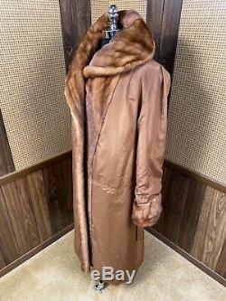 Amazing Zinman Whiskey Brown Full Length 50 Long Mink Fur Coat Large 8 10