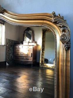 Antique Gold Large Full Length French Arch Leaner Dressing Dress Wall Mirror