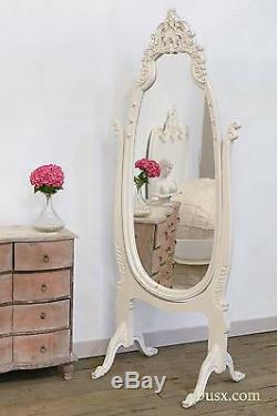 Antique Style White Carved Cheval Decorative Large Full Length Bedroom Mirror