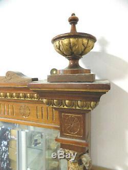 Antique, edwardian, large, 8'x4', walnut, gilt, freestanding, full length, mirror, column