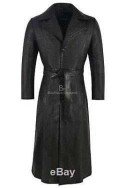 BLADE' Men's Black FULL-LENGTH Coat Wesley Snipes Real Napa Leather Coat 00147