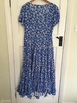 BNWT Rixo Tamara Blue Floral-Print Cotton-Blend Midi/Maxi Dress. Size L
