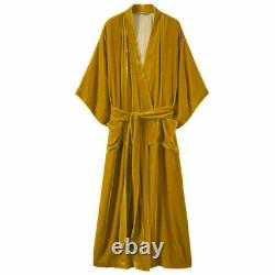 BNWT TOAST Gold Silk Velvet full length Kimono styled dressing gown robe size L