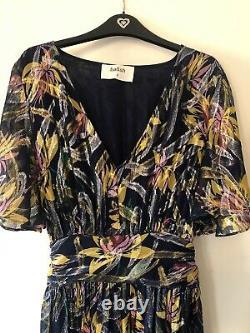 Ba&sh Jessy Floral Blue Lurex Maxi Dress Size 3/ Large/ UK14 Only Worn Once