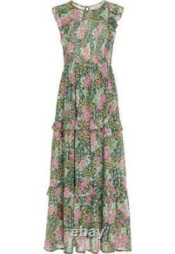 Banjanan Iris Smocked Floral Print Cotton Gauze Maxi Dress Large
