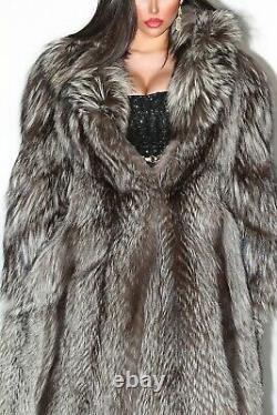 Beautiful Full Length Real Silver Fox Fur Coat Genuine Indigo Long Jacket Size L