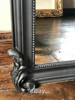 Black Large Full Length Ornate French Leaner Dressing Dress Wall Mirror