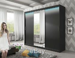Black Wardrobe Sliding Door Cabinet Mirror LED Large Closet Free Delivery 250cm
