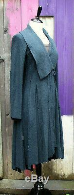 Bohemia Sweden Long Petrol Blue Boiled Wool Fitted Panelled Swing Coat Pockets