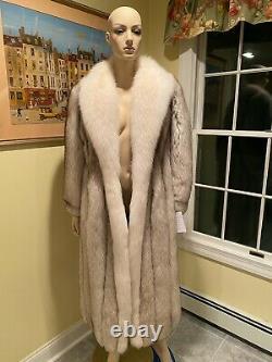 Brand New Natural White Arctic Blue Fox 48 Full Length Real Fur Coat 12 Large