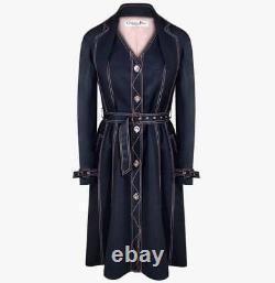 CHRISTIAN DIOR Women Black Denim Coat Size L Womens Black Jacket L Pink Lining