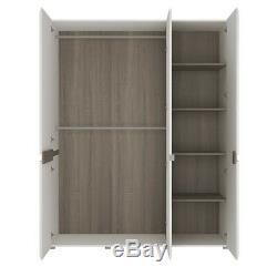 Chelsea Large Wide White Gloss & Oak Bedroom Furniture 3 Door Mirror Wardrobe