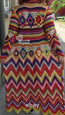 Crochet Granny Square and Chevron Stitch Full Length Autumn, Winter Long Coat, Cro