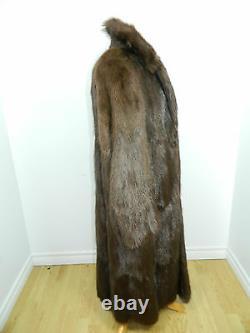 DYED BROWN MUSKRAT FUR COAT FOR MEN FULL LENGTH 50'' Sz. L (42) n24