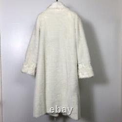 Dennis Basso White Faux Fur Full Length Coat Large