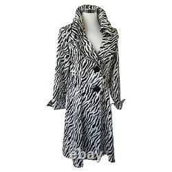 Design Today's Song Sung Zebra Sculptable Wired Ruffle Rain Trench Coat L NWT