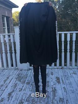 Designer Full Length beige white black Mink & Fox Fur Coat Stroller Jacket S-M