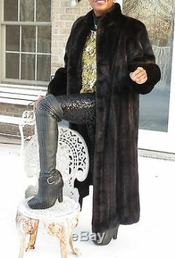 Designer Full length Lanvin Dark Brown Mink Fur Coat Jacket Stroller M-L 10-16