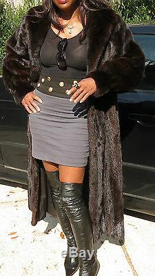 Designer Full length black sable brown Mink Fur Coat Stroller L-XL 14-18/20