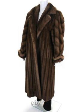 Designer Womens Mink Full Length Button Up Fur Coat Brown Size Large