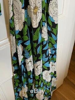 Diane von Furstenberg Silk Long Sleeved Floral Maxi Dress L
