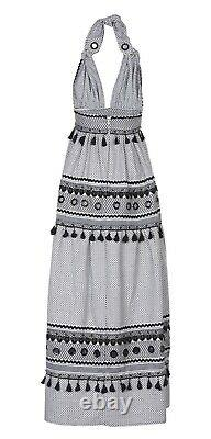 Dodo Bar Or Black & White Halterneck Cotton Maxi Dress With Tassel Fringe Trim L