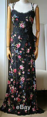 Dolce And Gabbana Lace Panelled Bow Embellished Silk Blend Gown It 44 Uk 12
