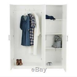 Dombas Large Size 3 Door Wardrobe White 140x181cm Adjustable Shelves IKEA