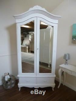 Double French Charroux Armoire In White (Large) Handmade Double Wardrobe