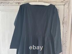Egg Trading Cotton Canvas'frieda' Dress In Dark Ink Navy L