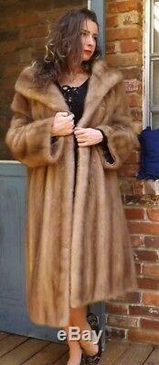 Emilio GUCCI Rome New York Full length blonde Beige Genuine mink Fur coat L-XL