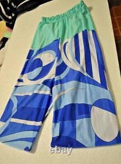Emilio Pucci vintage Leggings Turquoise Blue Classic print sz L PREOWNED