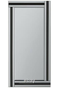 Extra Large Black & Silver Wall Mirror Full Length Art Deco 5Ft9x2Ft9 174 X 85cm