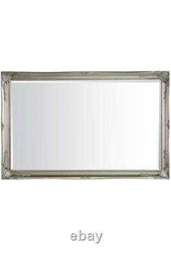 Extra Large Classic Full Length Ornate Silver Mirror 5Ft7 X 3Ft7 170cm X 109cm