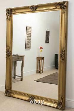 Extra Large Full Length Leaner Floor Gold Wall Mirror 7ft x 5ft 213 x 152cm