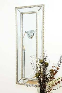 Extra Large Silver Full Length Venetian Wall Mirror 4ft11 X 1ft11 150cm x 60cm