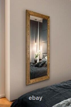 Extra Large Wall Mirror Brown Solid Wood Framed Full Length 172cm x 81cm