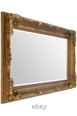 Extra Large Wall Mirror Gold Full Length Vintage Wood 6Ft X 3Ft 183cm x 91cm