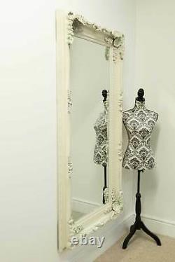 Extra Large Wall Mirror Ivory Full Length Vintage Wood 6Ft X 3Ft 183cm x 91cm
