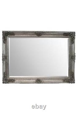 Extra Large Wall Mirror Silver Antique Wood Full Length 3Ft7 X 2Ft7 110cm X 79cm